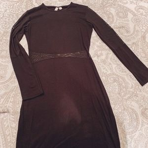 ASOS Black Long Sleeve Dress with Mess Cut Outs